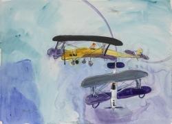 Purple and Yellow Biplanes